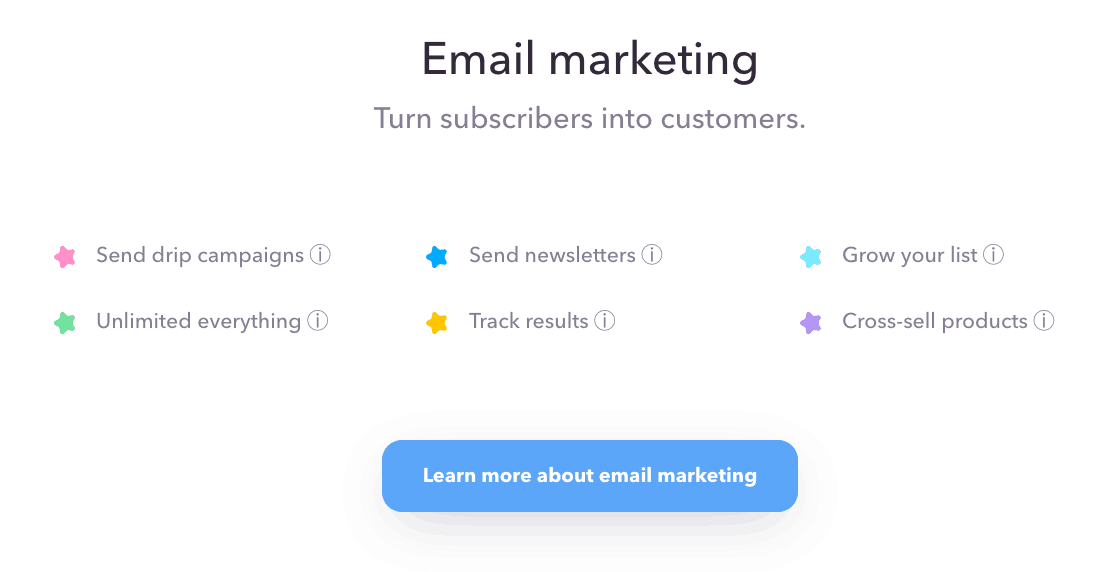 Email marketing feature