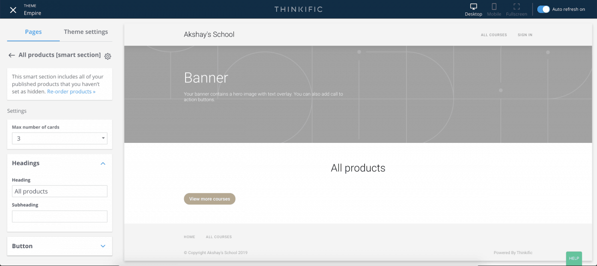 Page builder for adding sections