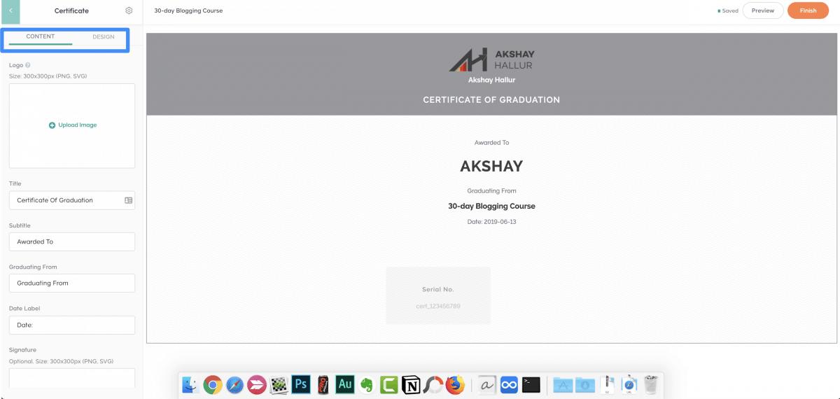 Certificate design editor