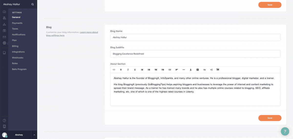 Enabling the blog functionality in the settings
