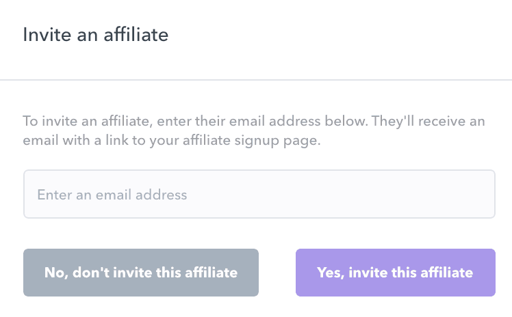 inviting affiliates to sign up