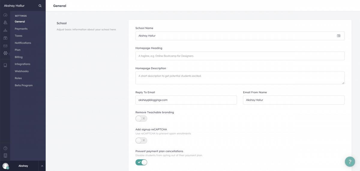 Options to set the global settings