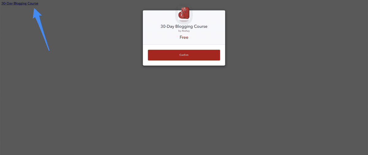 triggering a modal popup