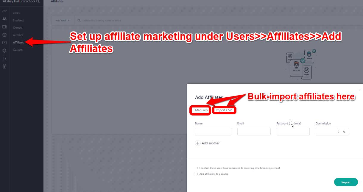 Set up Affiliate Marketing Settings on Teachable