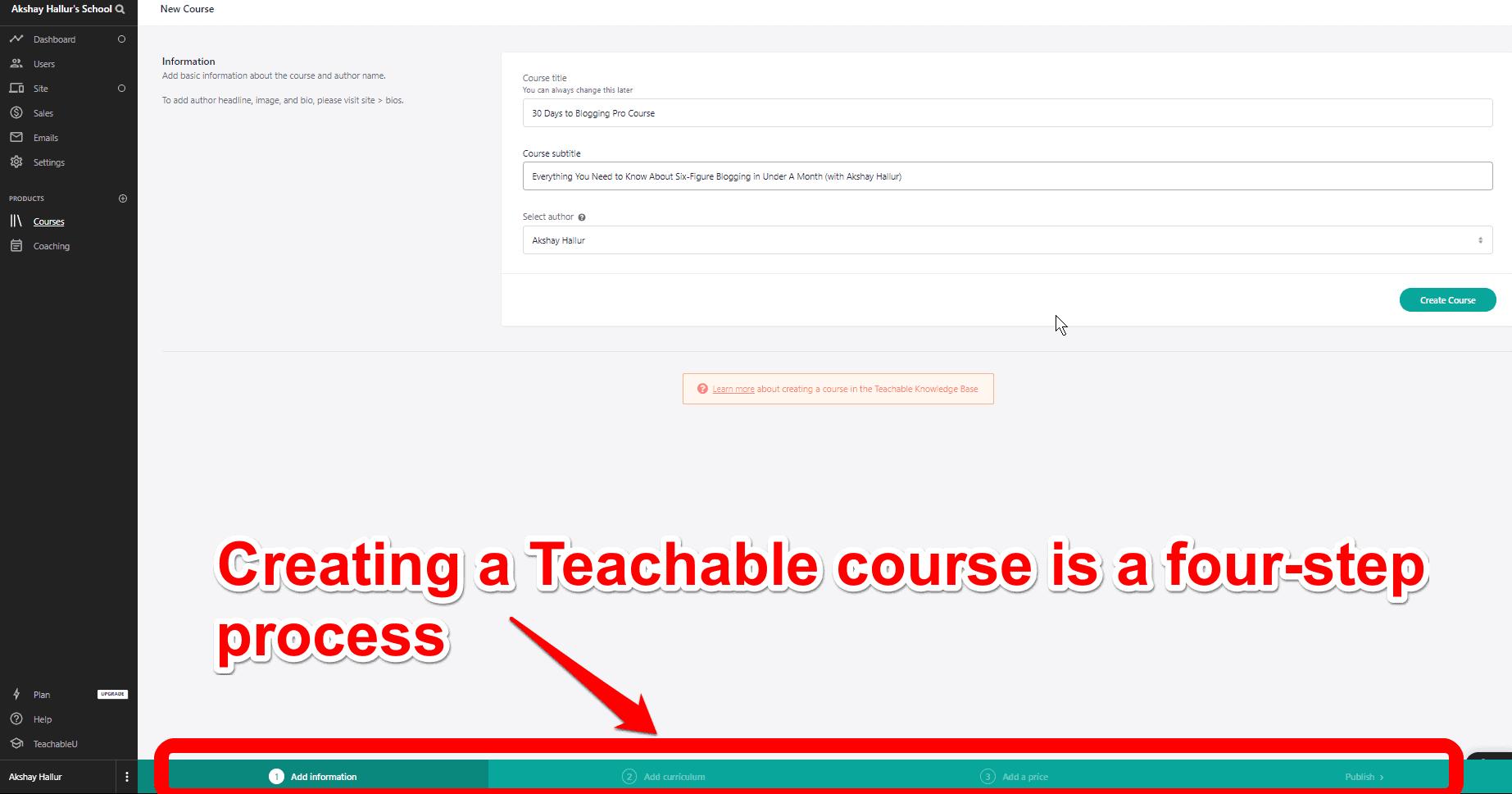 Teachable Course Creation Process