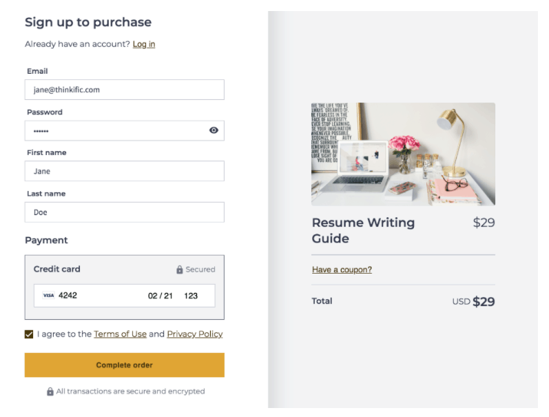 Thinkifics New Single page Checkout
