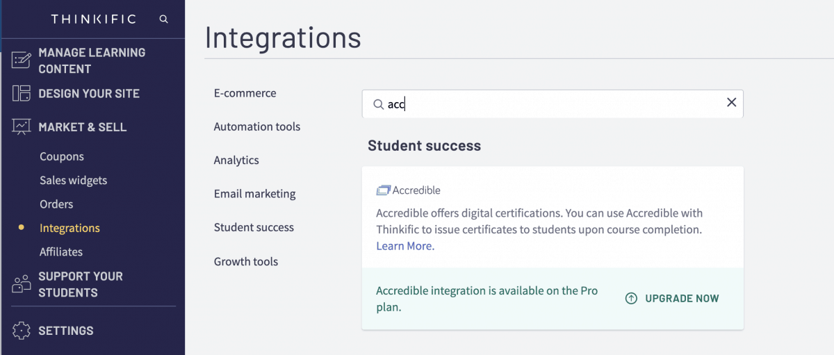 Thinkific integrations with Accredible for certificate generation.