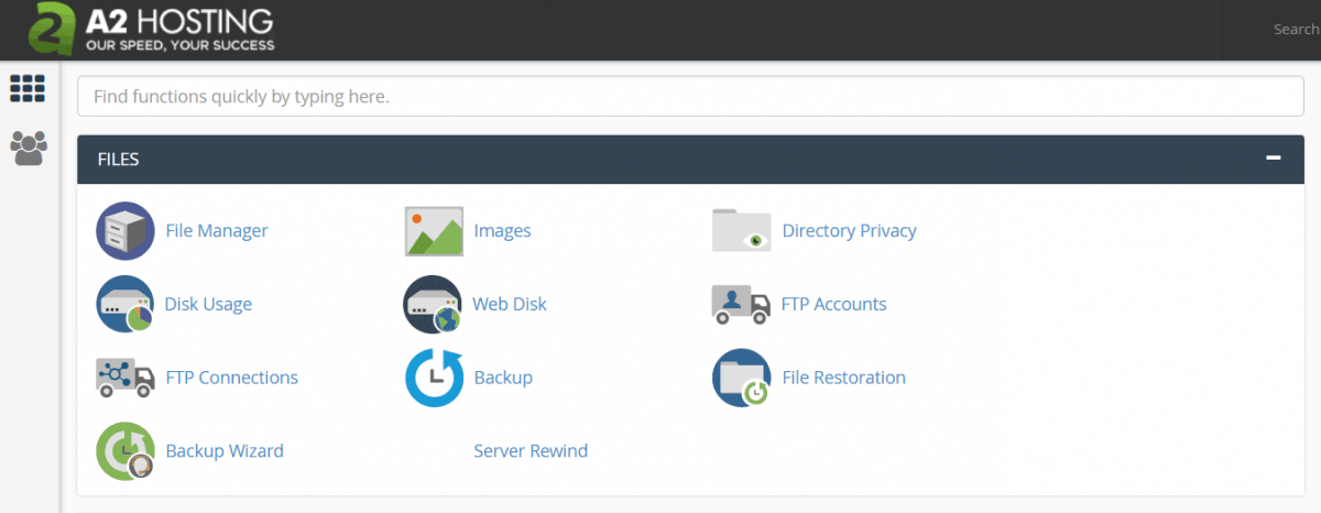 A2 hosting files