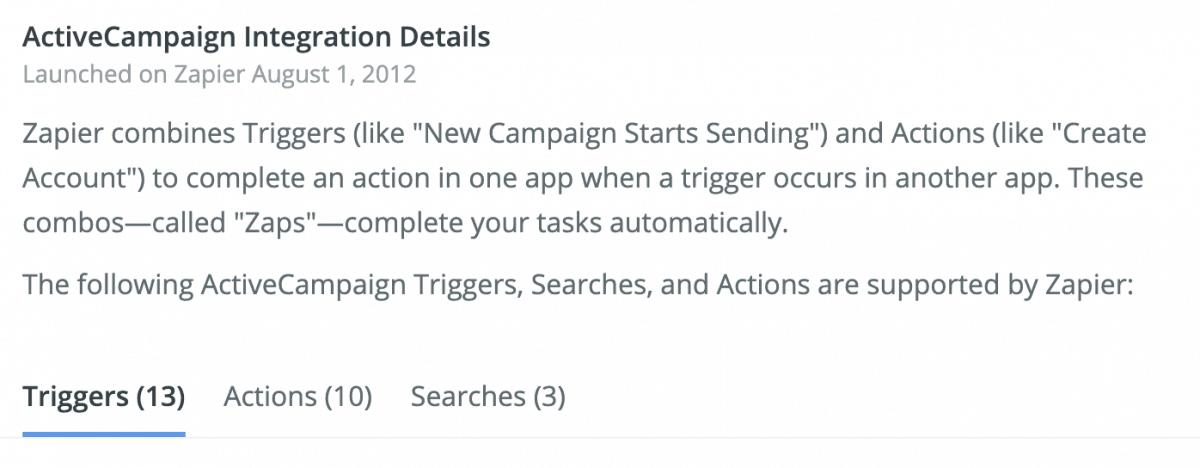 ActiveCampaign integration details