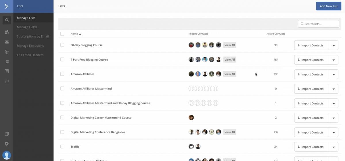 ActiveCampaign list management