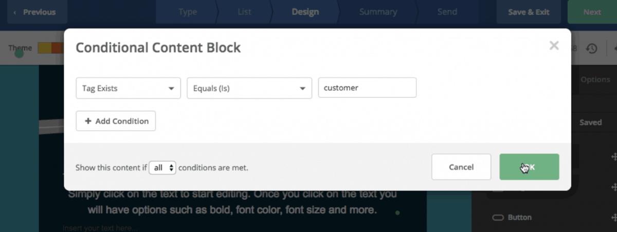 Conditional content block
