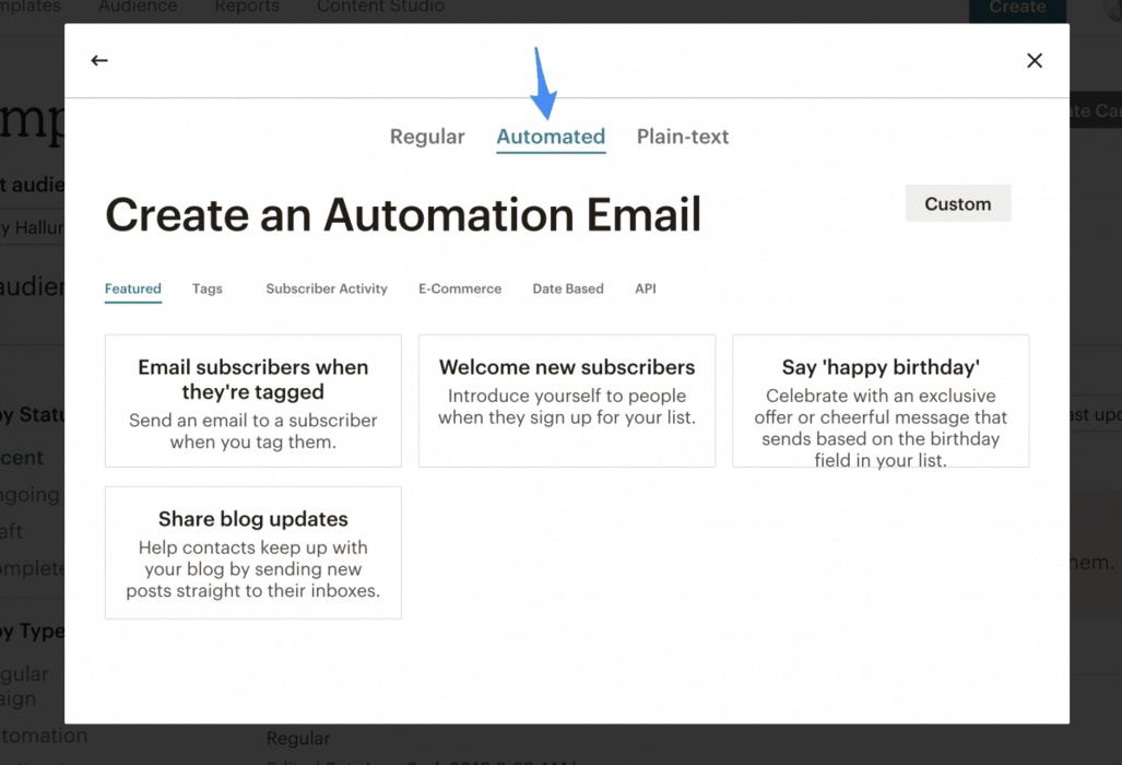 MailChimp autoresponder feature