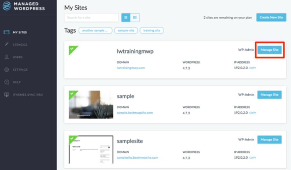 Managing sites