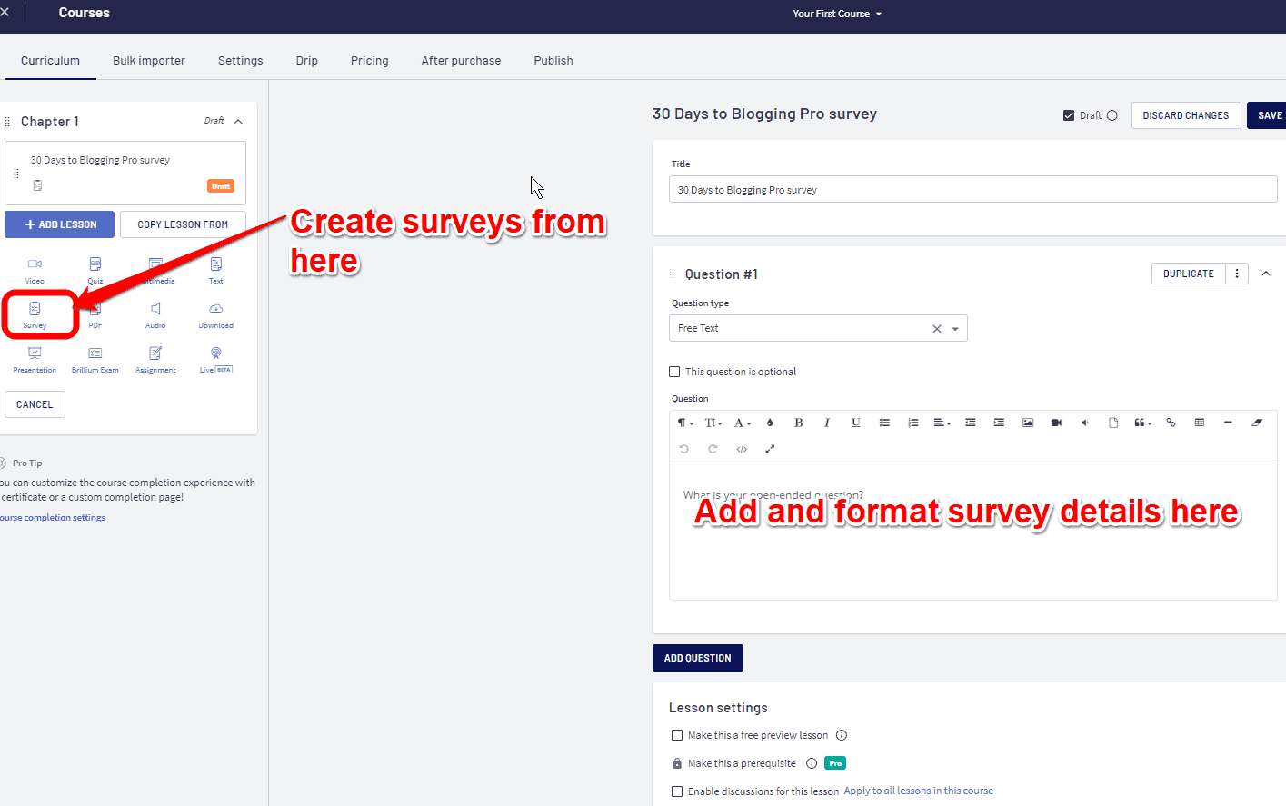 Creating Surveys with Thinkific