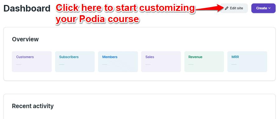 Podia Site Design and Customization