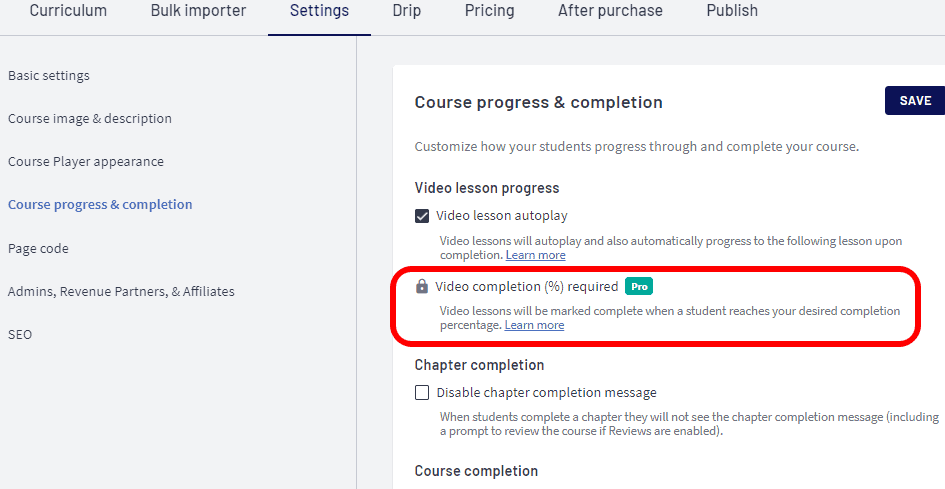Thinkifics Course Completion Features