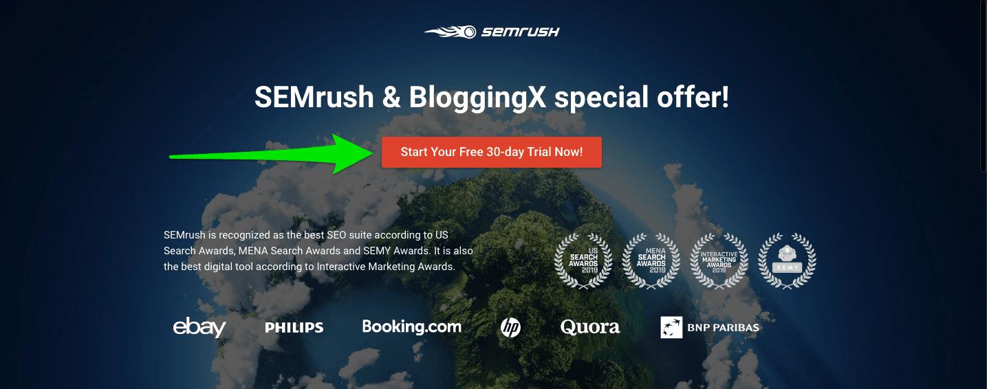 SEMrush Trial Partner Page