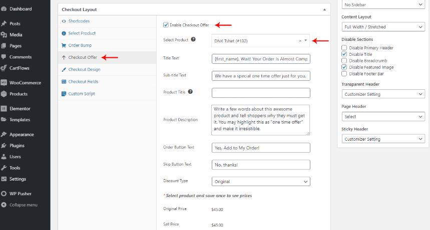 CartFlows  checkout layout