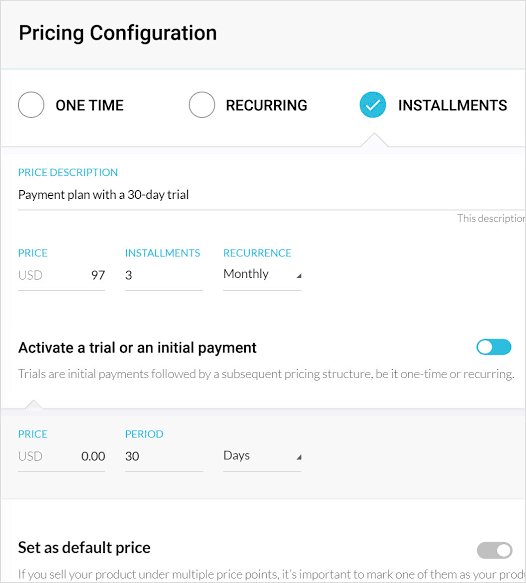 Pricing configurations