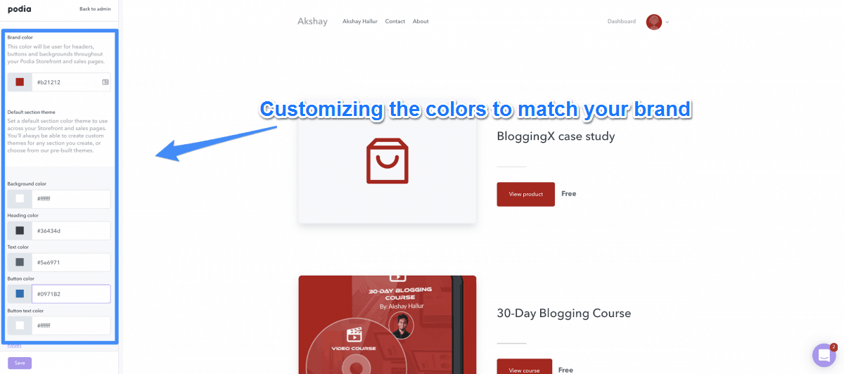 Customize The Colors Of Your Pages To Match Your Brand