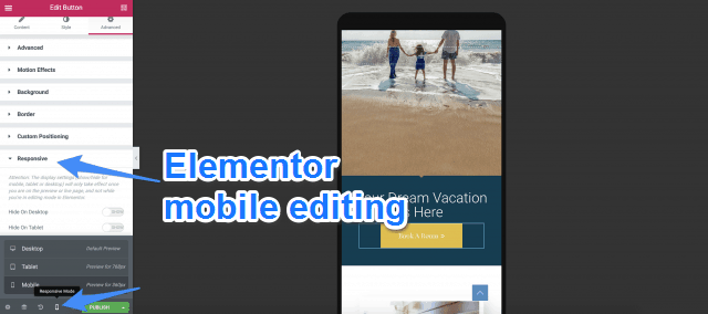 Elementor Mobile Editing
