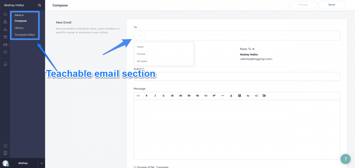 Email Section In Teachable