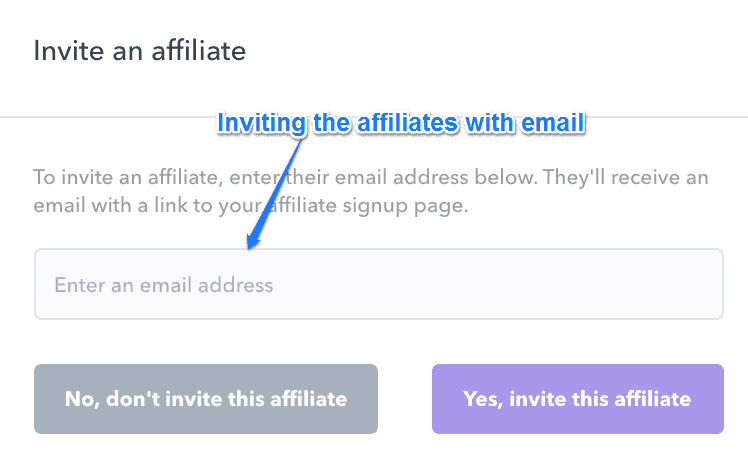 Inviting The Affiliates With Email