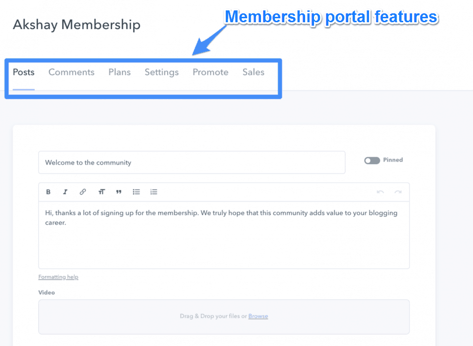 Membership Portal Features