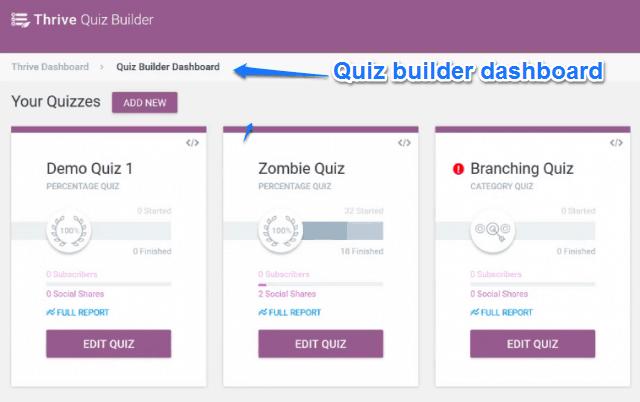 Quiz Builder Dashboard