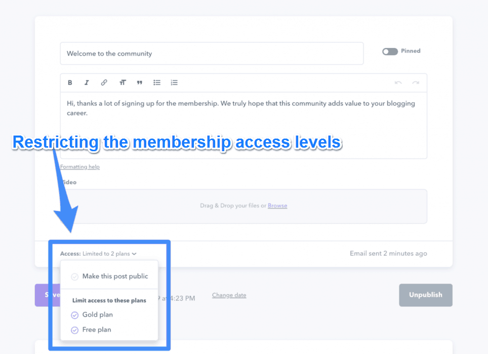 Restricting The Membership Access Levels