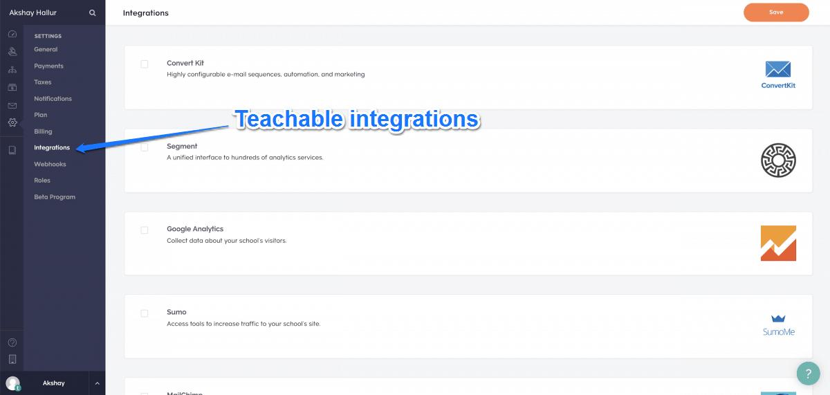 Teachable Integrations