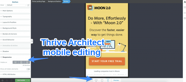 Thrive Architect Mobile Editing