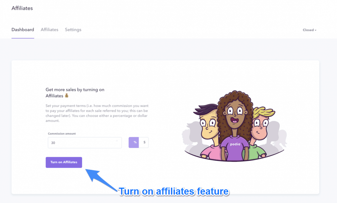 Turn On Affiliates Feature