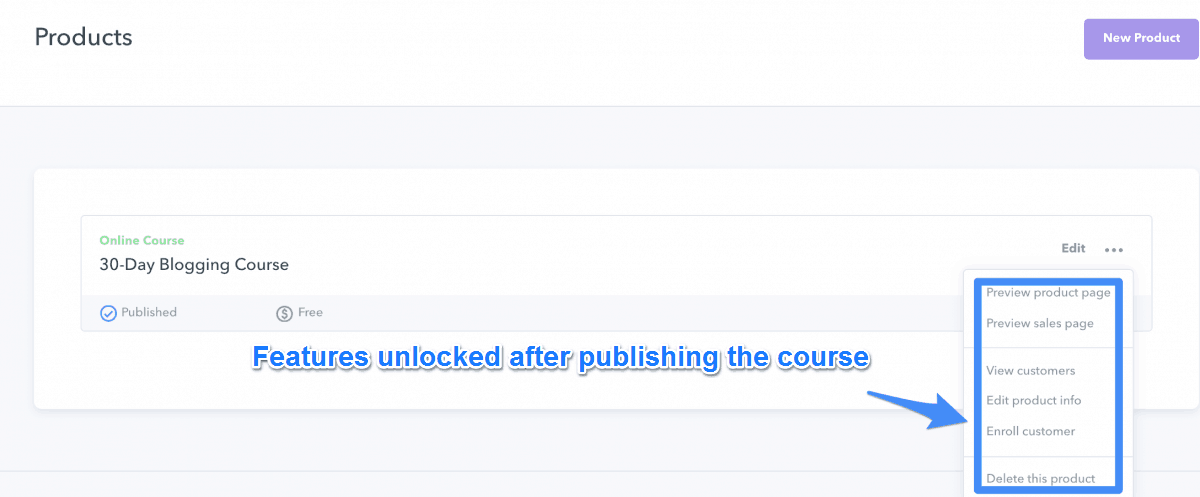 Various Options Unlocked After Publishing The Course