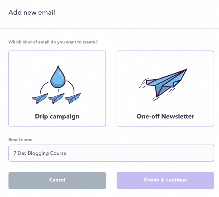 Adding new email with Podia