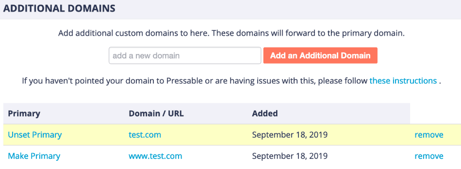 additional domains