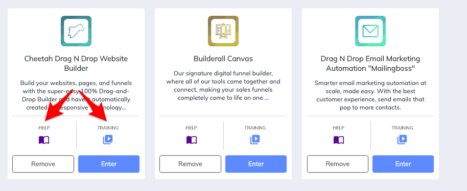 Apps help and training sections