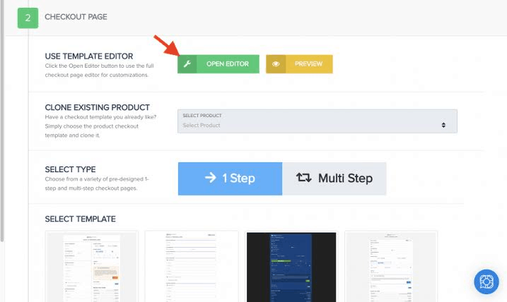 Checkout page editor