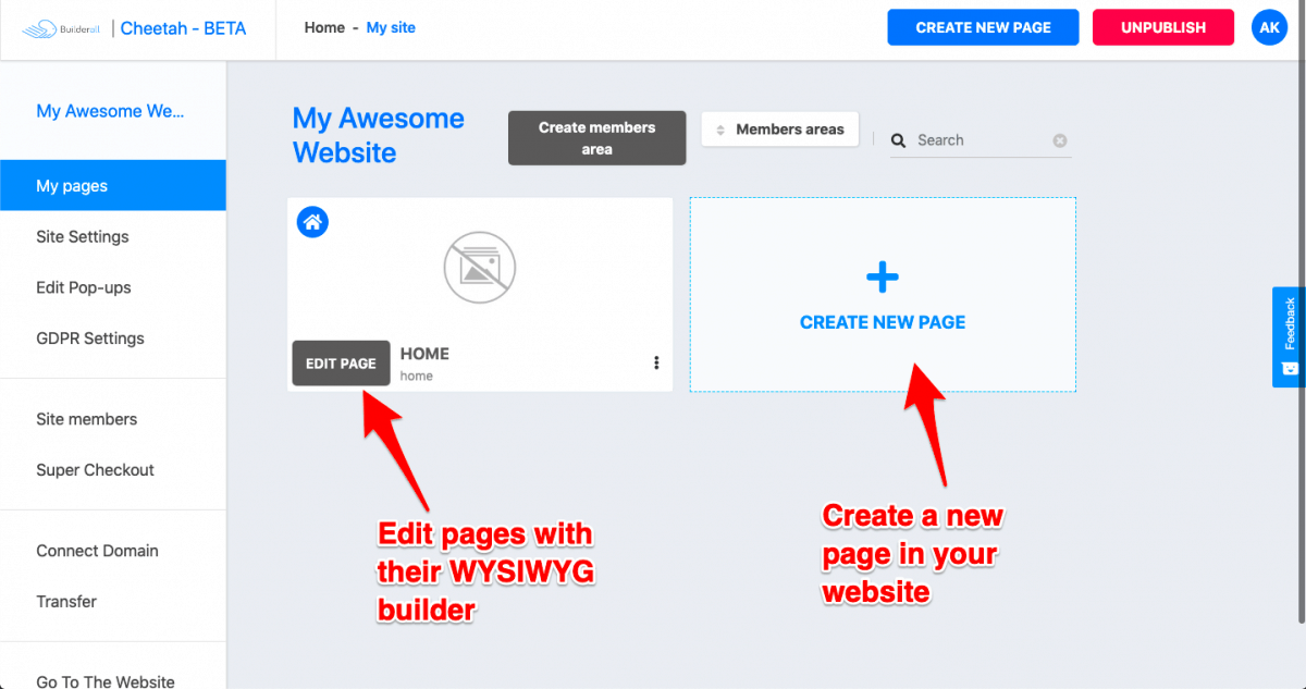 Editing the page with WYSIWYG page builder