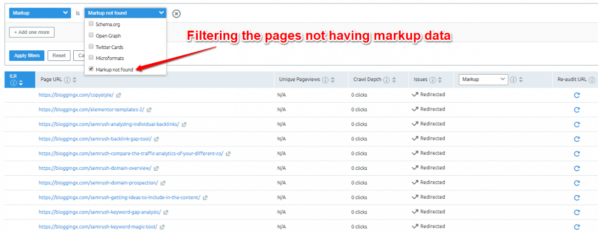 Pages not having markup data