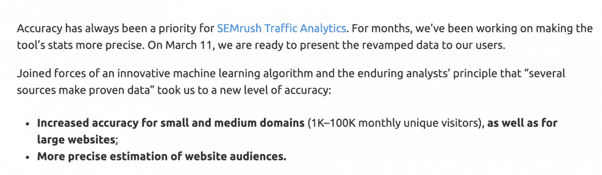 SEMrush traffic analytics accuracy