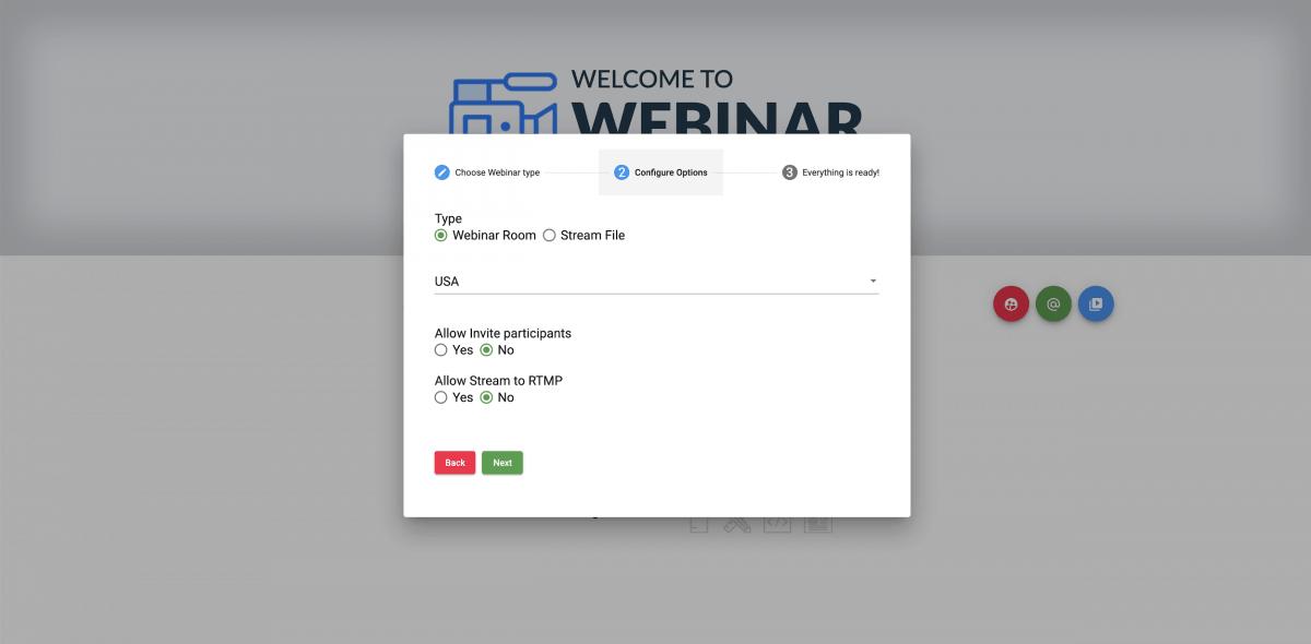 Webinar configure options