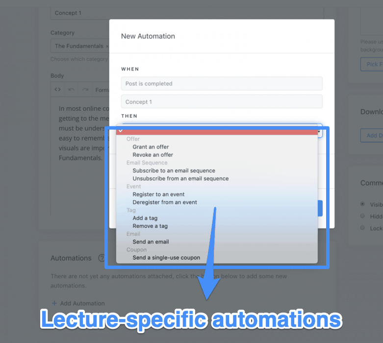 Lecture-specific automations in Kajabi