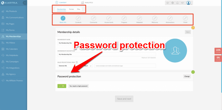 Kartra Password Protection