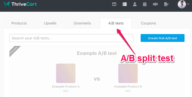 A/B split testing feature