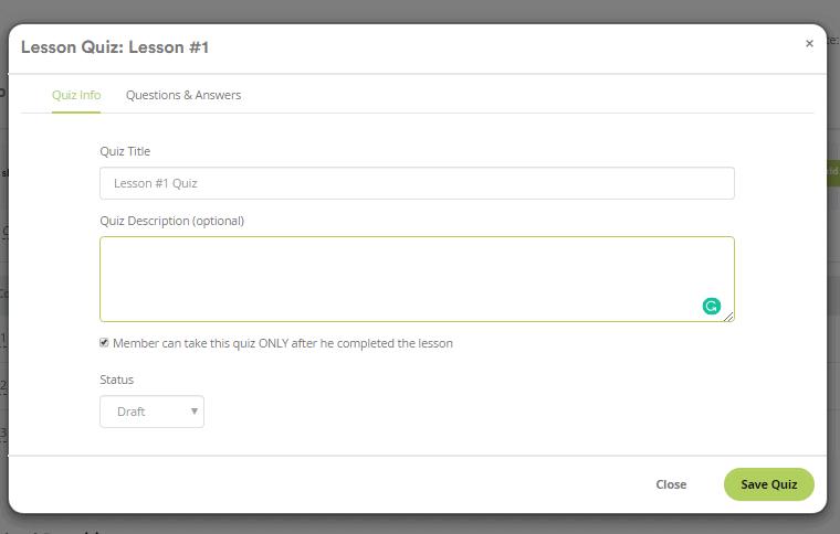 Adding quiz inside membership