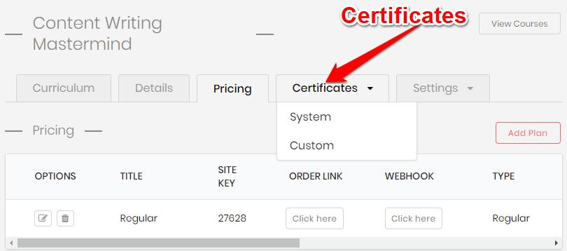 Certificates feature