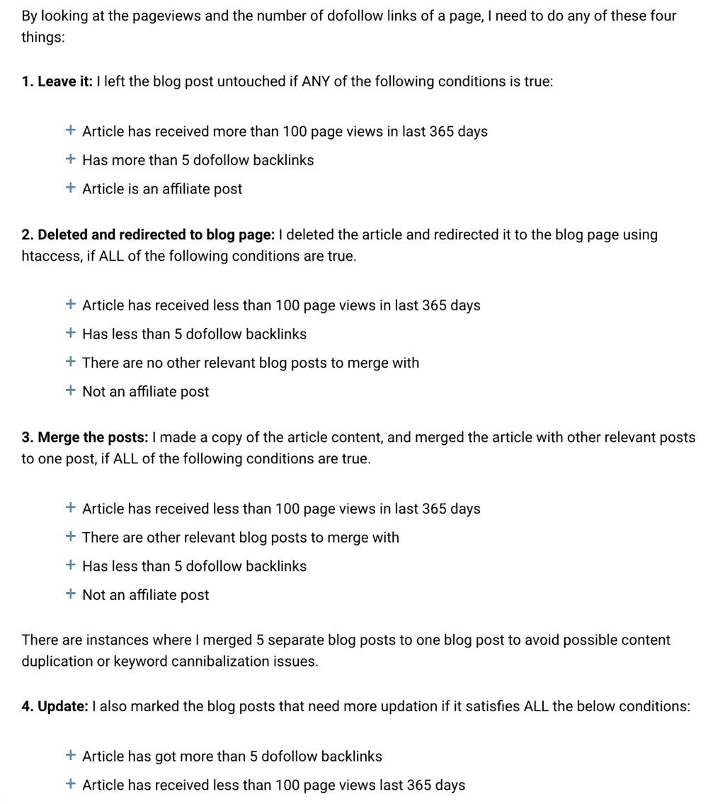 Content audit framework