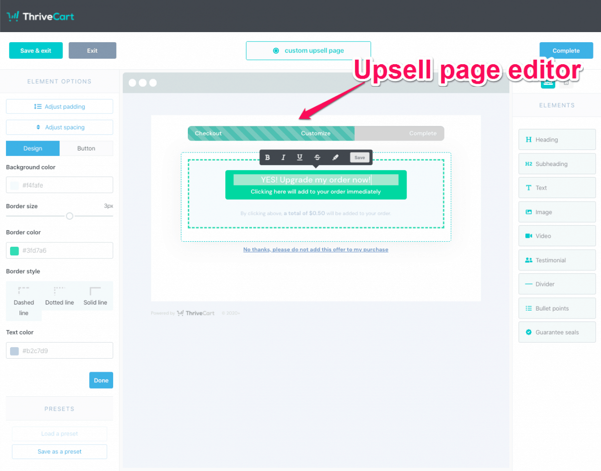 Creating checkout page using editor