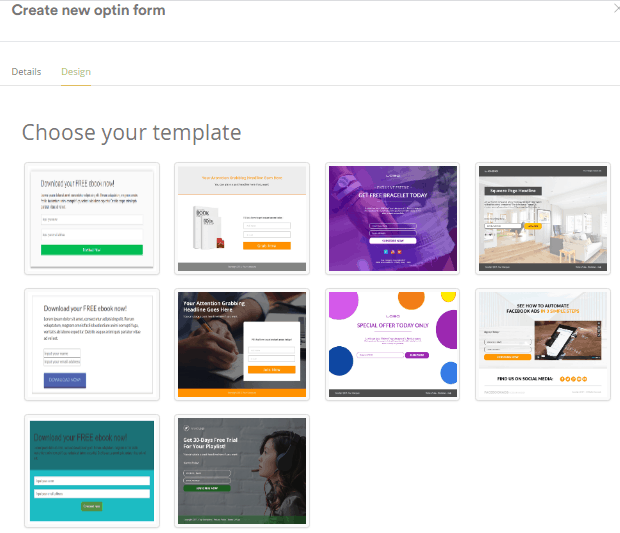 Creating opt-in forms using built in templates
